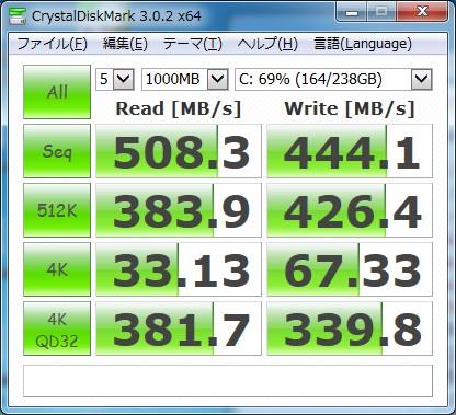 20130805 HDDベンチ マイPC
